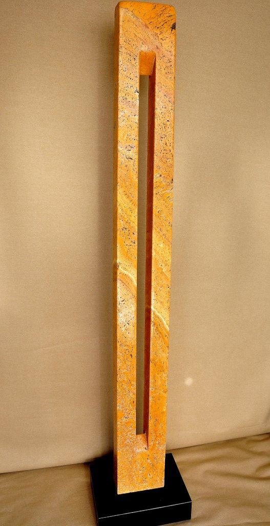 Stele Tor - gelber persischer Travertin - 189 x 25 x 9.5 cm
